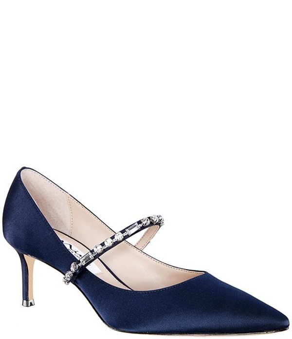 ニナ レディース ヒール シューズ Stella Satin Mary Jane Embellished Pumps New Navy