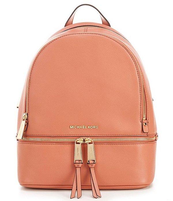 マイケルコース レディース ハンドバッグ バッグ Rhea Zip Medium Pebble Leather Backpack Sunset Peach