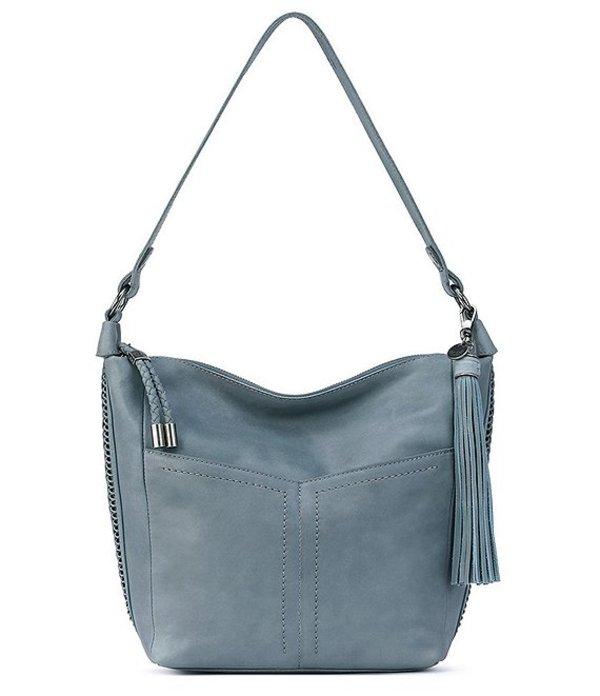 ザサック レディース ショルダーバッグ バッグ Collective Leather 130 Zip Top Bucket Hobo Bag Denim