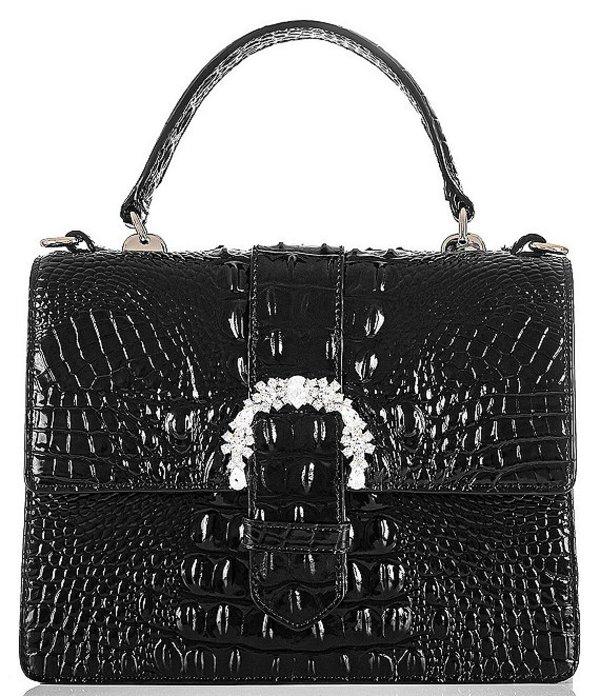 ブランミン レディース ハンドバッグ バッグ Melbourne Collection Luxe Mini Francine Crocodile-Embossed Embellished Buckle Satchel Bag Black