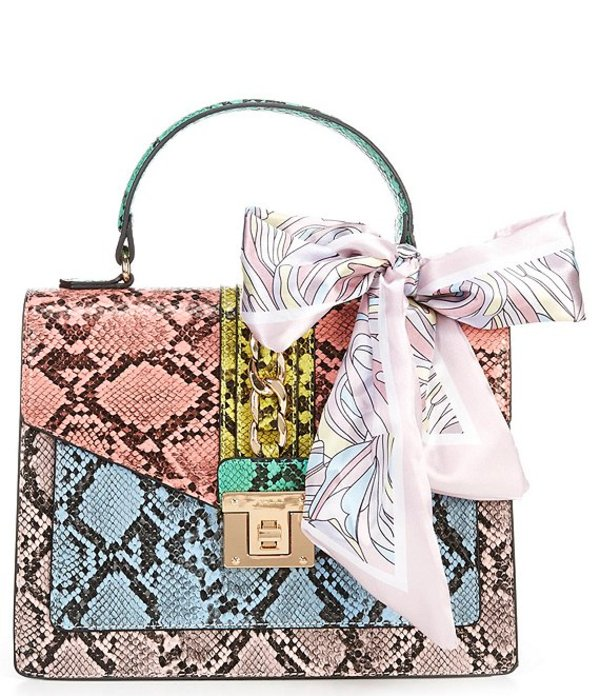 アルド レディース ハンドバッグ バッグ Glenda Top Handle Multi-Color Snake Print Chain Scarf Satchel Bag Pastel Multi