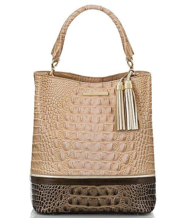 ブランミン レディース ショルダーバッグ バッグ Roseleaf Collection Amelia Crocodile-Embossed Bucket Bag Chiffon