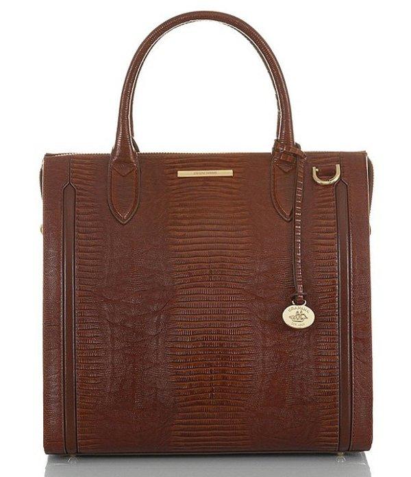 ブランミン レディース ハンドバッグ バッグ Elysian Collection Caroline Lizard-Embossed Satchel Bag Cognac