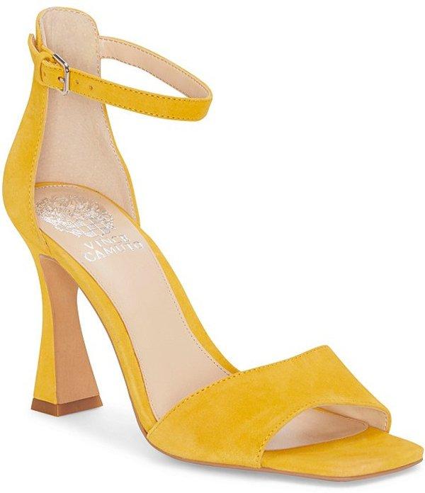 ヴィンスカムート レディース サンダル シューズ Reesera Suede Square Toe Dress Sandals Golden Mustard