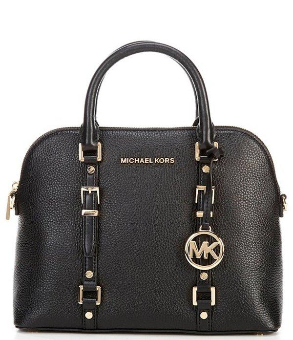 マイケルコース レディース ハンドバッグ バッグ Bedford Legacy Medium Dome Pebble Leather Zip Satchel Bag Black