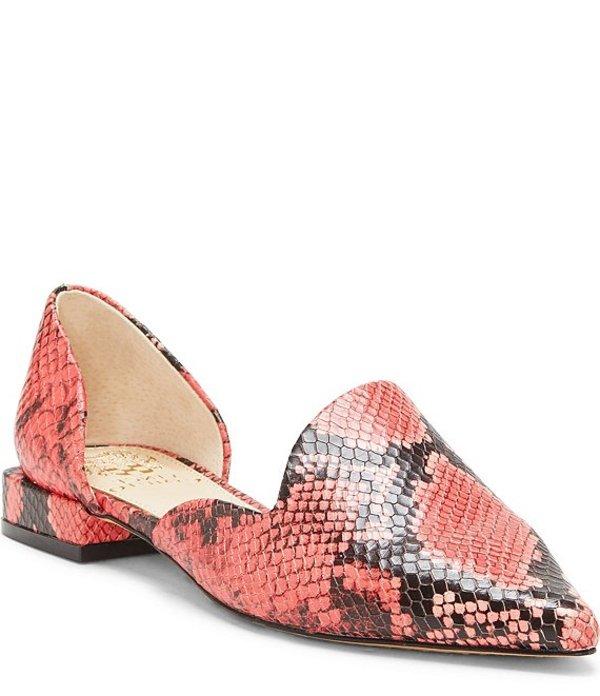 ヴィンスカムート レディース スリッポン・ローファー シューズ Cruiz Snake Print Leather Two Piece Pointed Toe Flats Pink Python