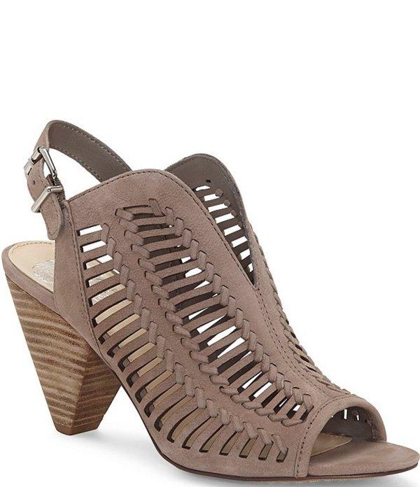 ヴィンスカムート レディース サンダル シューズ Earinan Laser-Cut Leather Stacked Cone Heel Sandals Grey