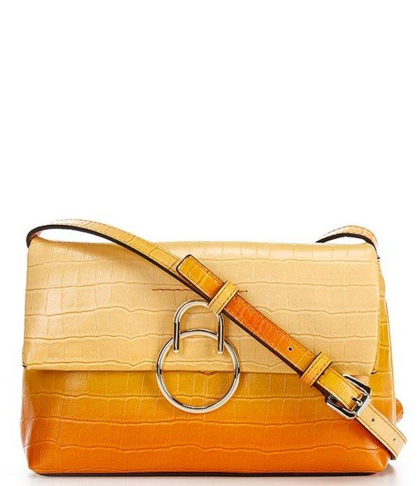 ヴィンスカムート レディース ショルダーバッグ バッグ Plum Ombre Embossed Leather Flap Mini Crossbody Bag Lemon Degrade
