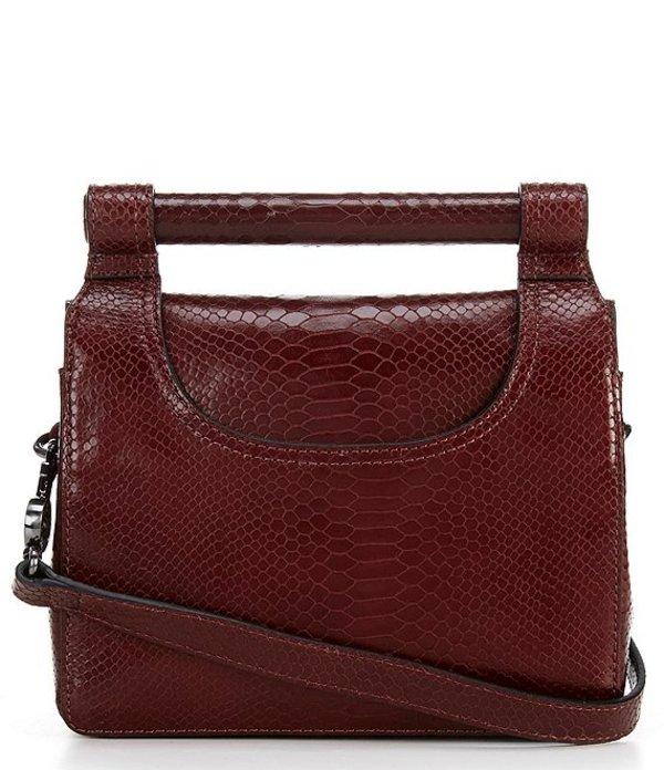 ヴィンスカムート レディース ショルダーバッグ バッグ Beck Top Handle Bar Python Embossed Shoulder Bag Cinnabar