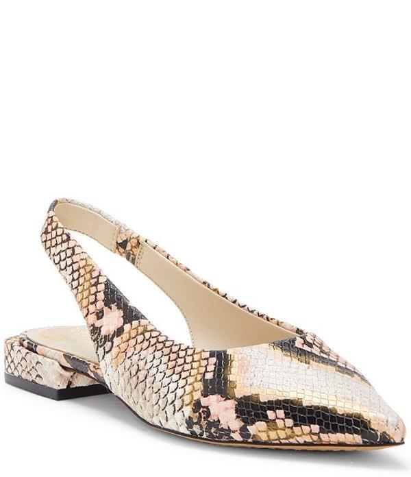 ヴィンスカムート レディース パンプス シューズ Chachen Snake Print Leather Pointed Toe Slingbacks Creamsicle