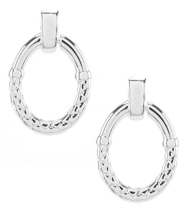 アンクライン レディース ピアス・イヤリング アクセサリー Basket Weave Clip Doorknocker Earrings Silver