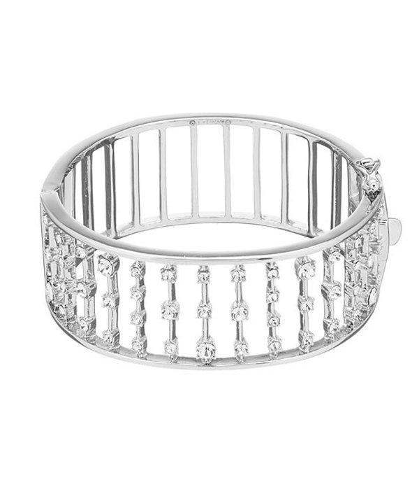 ジバンシー レディース ブレスレット・バングル・アンクレット アクセサリー Crystal Multi Row Bangle Bracelet Silver