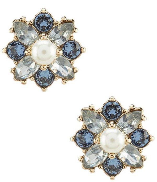 マルケッサ レディース ピアス・イヤリング アクセサリー Flower Blue Button Stud Earrings Blue