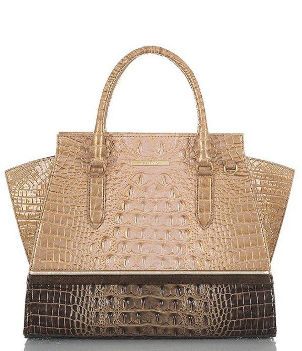 ブランミン レディース ハンドバッグ バッグ Roseleaf Collection Priscilla Crocodile-Embossed Colorblock Satchel Bag Chiffon
