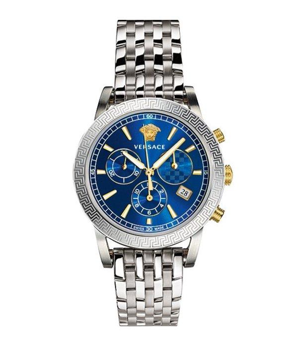 ヴェルサーチ メンズ ブレスレット・バングル・アンクレット アクセサリー Men's Sport Tech Chronograph Bracelet Watch Silver