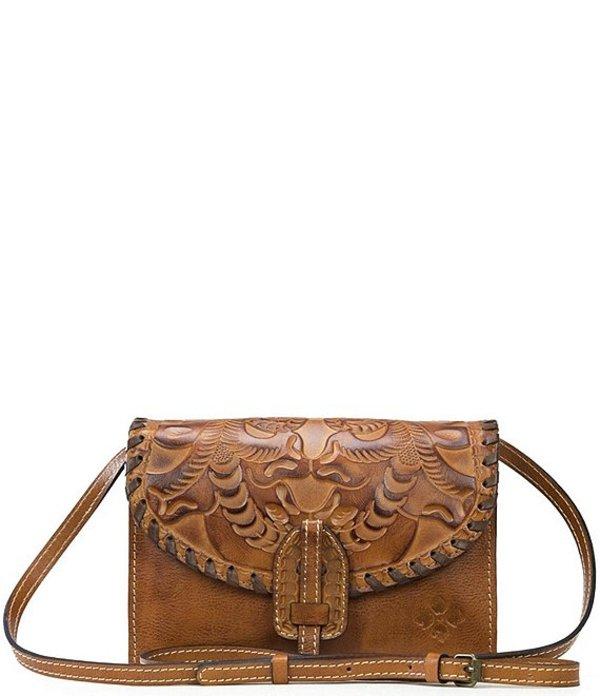 パトリシアナシュ レディース ショルダーバッグ バッグ Burnished Tooled Collection Leather Flap Pushlock Lanza Crossbody Bag Gold