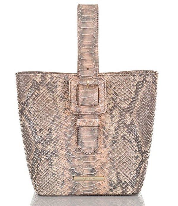 ブランミン レディース ショルダーバッグ バッグ Mare Collection Snake Skin Embossed Faith Buckle Pouchette Wristlet Bag Chiffon