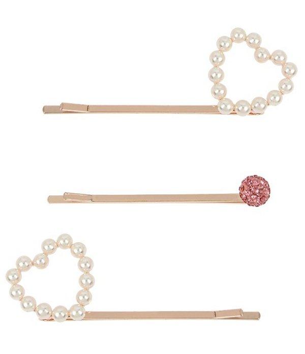ベッツィジョンソン レディース 帽子 アクセサリー Pearl Heart Hair Pin Set Pink Pearl