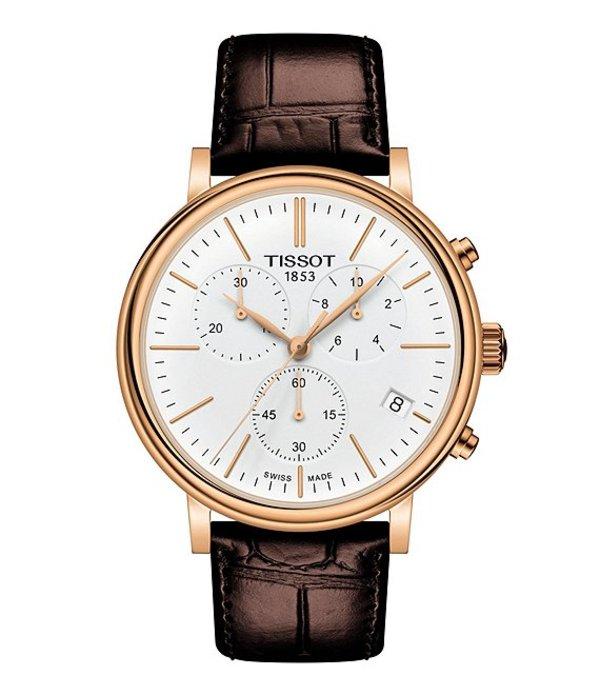 ティソット メンズ 腕時計 アクセサリー Men's Carson Premium Chronograph Watch Brown
