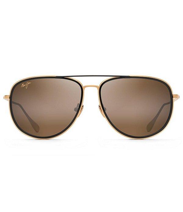 マウイジム レディース サングラス・アイウェア アクセサリー Fair Winds Polarized Aviator Sunglasses Gold Matte