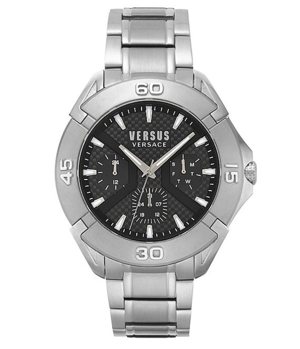 ヴェルサーチ メンズ 腕時計 アクセサリー Versus By Versace Oberkampf Multifunction Stainless Steel Bracelet Watch Silver