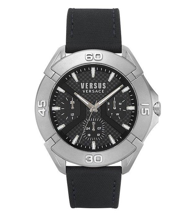 ヴェルサーチ メンズ 腕時計 アクセサリー Rue Oberkampf Black Leather Multifunction Watch Black