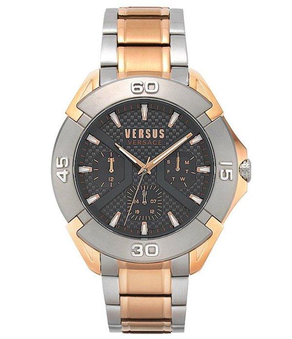 ヴェルサーチ メンズ 腕時計 アクセサリー Rue Oberkampf Two-Tone Multifunction Leather Watch Two Tone