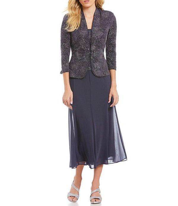 アレックスイブニングス レディース ワンピース トップス Jacquard Tea-Length Jacket Dress Smoke