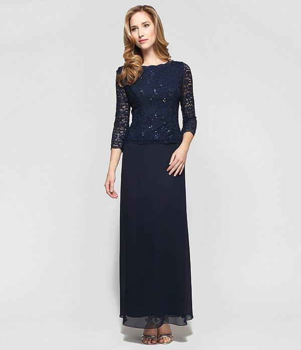 アレックスイブニングス レディース ワンピース トップス Petite Sequined Lace-Bodice Gown Navy