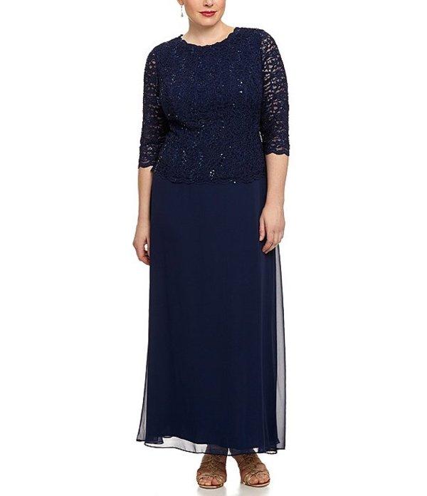 アレックスイブニングス レディース ワンピース トップス Plus Lace Bodice Mock 2-Fer Dress Navy