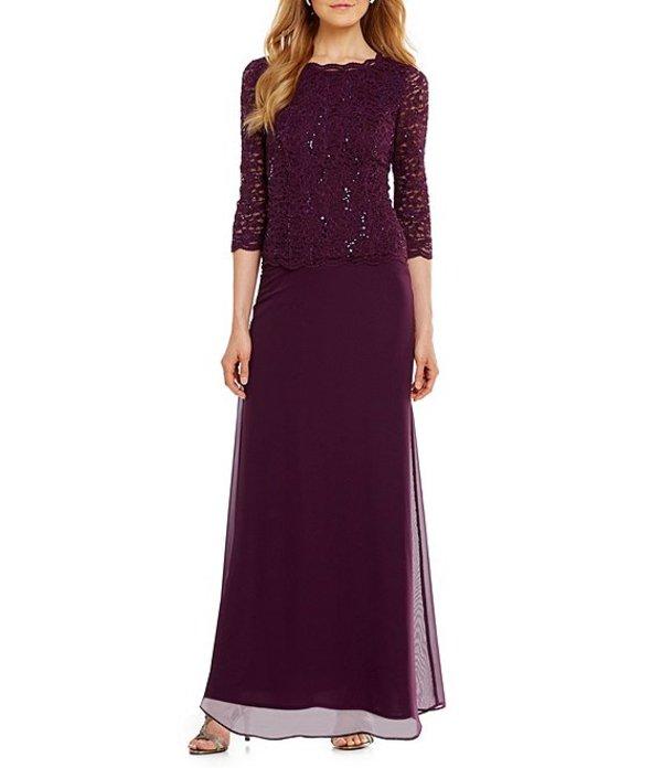 アレックスイブニングス レディース ワンピース トップス Sequined Lace & Chiffon Gown Deep Plum