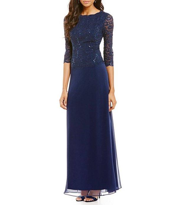 アレックスイブニングス レディース ワンピース トップス Sequined Lace & Chiffon Gown Navy