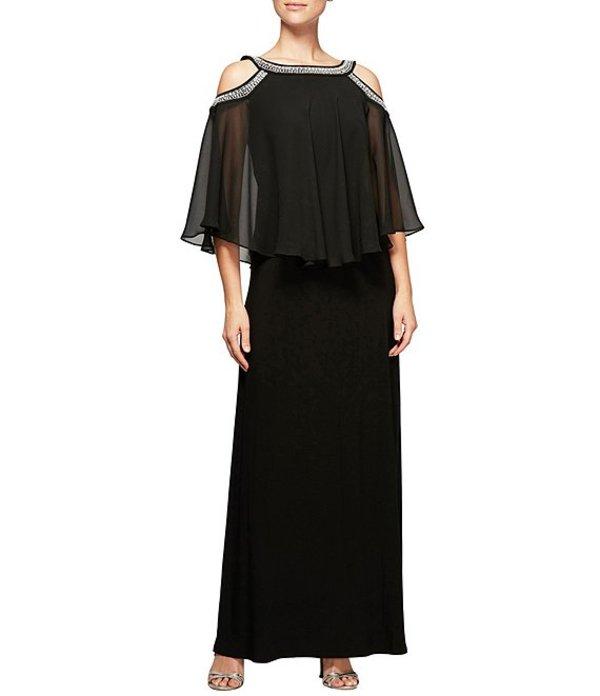 アレックスイブニングス レディース ワンピース トップス Cold-Shoulder Bead-Trim Stretch Popover Gown Black