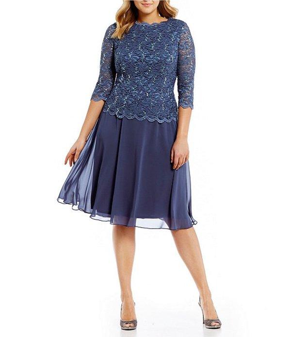 アレックスイブニングス レディース ワンピース トップス Plus Size Mock 2-Piece Lace Tea Length Dress Wedgewood