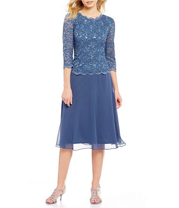 アレックスイブニングス レディース ワンピース トップス Petite Mock 2-Piece Lace T-Length Dress Wedgewood
