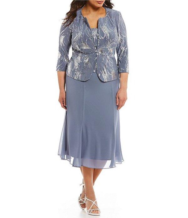 アレックスイブニングス レディース ワンピース トップス Plus Mock T-Length Sequin Jacket Dress Steel Blue