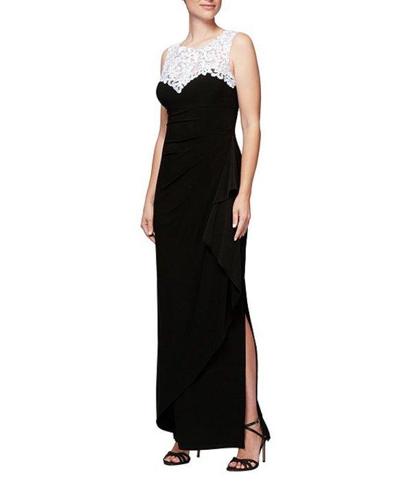 アレックスイブニングス レディース ワンピース トップス Embroidered Neck Sleeveless Long Gown Black/White