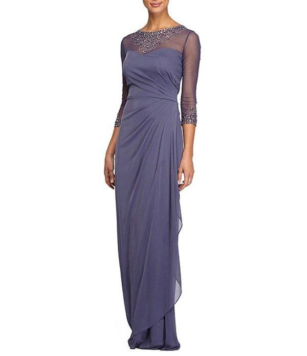 アレックスイブニングス レディース ワンピース トップス Petite Size A-Line Sweetheart Neckline Long Stretch Dress Violet