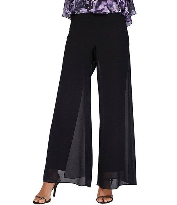 アレックスイブニングス レディース カジュアルパンツ ボトムス Petite Size Georgette Straight Leg Overlay Pant Black