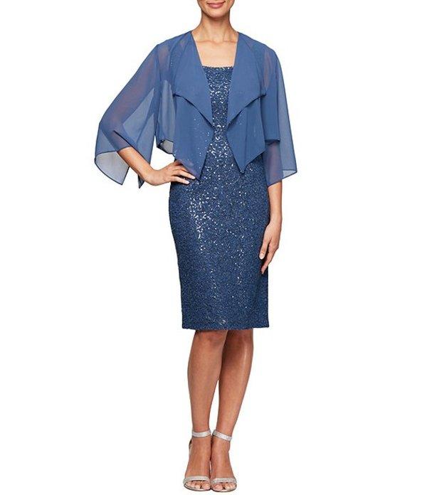 アレックスイブニングス レディース ワンピース トップス Petite Size Sequin Lace Cascade Jacket Dress Wedgewood
