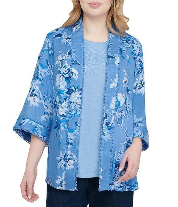 アリソン デイリー レディース カーディガン アウター Floral Print Pom Pom Trim Open Front Kimono Jacket Blue Floral