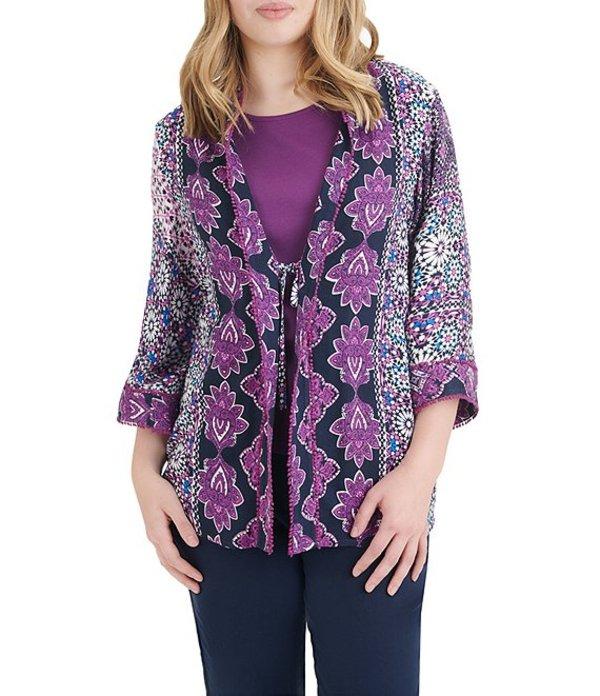 アリソン デイリー レディース カーディガン アウター Tile Print 3/4 Kimono Sleeve Cardigan Purple Tile