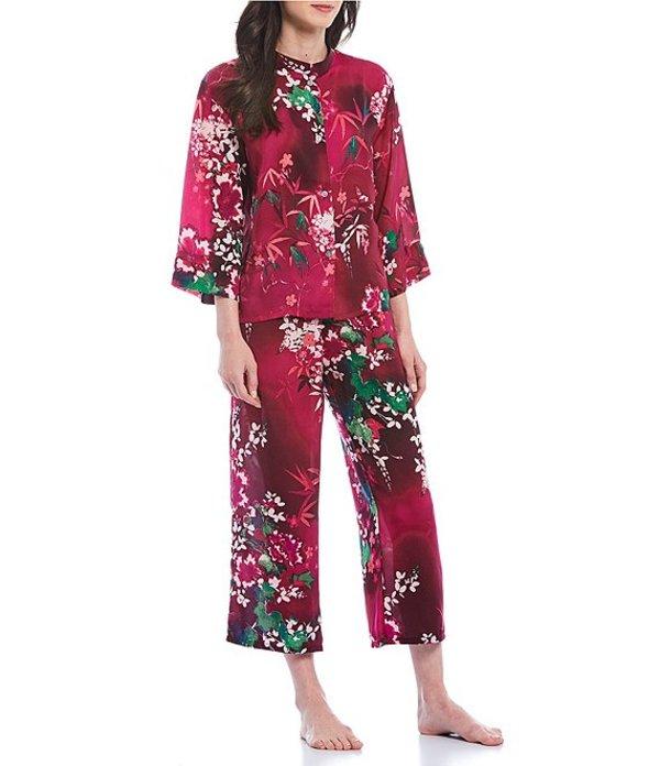 ナトリ レディース ナイトウェア アンダーウェア N by Natori Ivy Blossom Print Satin Pajama Set Wildberry
