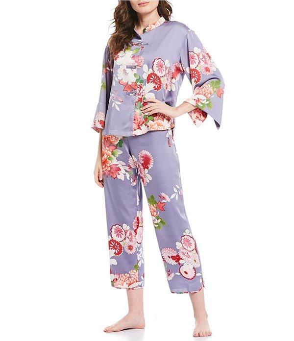 ナトリ レディース ナイトウェア アンダーウェア Winter Peony Satin Mandarin Pajama Set Blue Granite/Multi