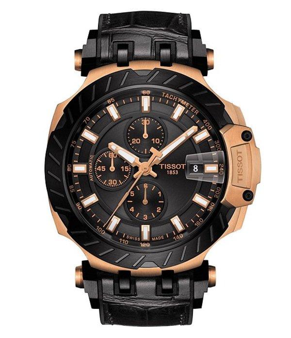 ティソット メンズ 腕時計 アクセサリー T-Race Automatic Chronograph Watch Black