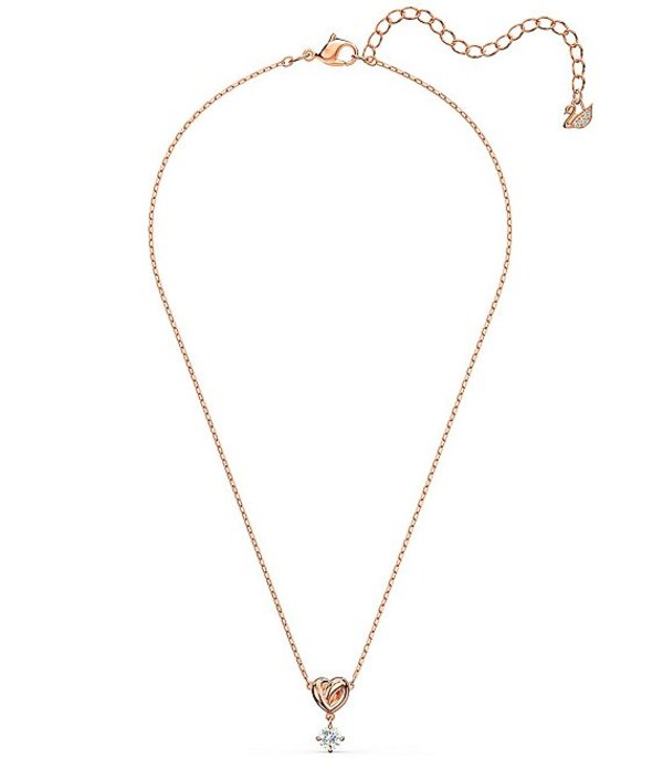 スワロフスキー レディース ネックレス・チョーカー アクセサリー Lifelong Heart Pendant Necklace Rose Gold