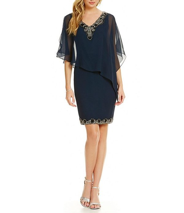 ジェーカラ レディース ワンピース トップス Petite V-Neck Beaded Asymmetrical Capelet Dress Navy/Black/Mercury