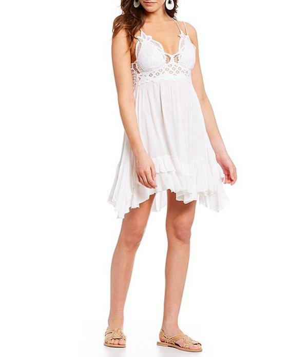 フリーピープル レディース ワンピース トップス Adella Lace Slip Ruffle Tiered Asymetric Hem Spaghetti Strap Flounce Mini Dress White