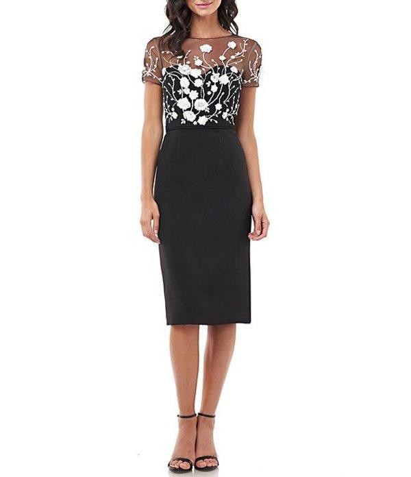 ジェイエスコレクションズ レディース ワンピース トップス Embroidered Floral Illusion Bodice Sheath Dress Black/Ivory
