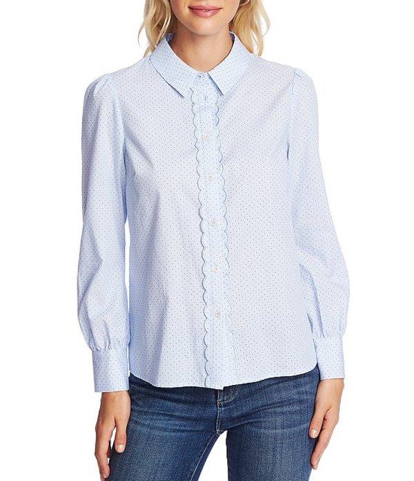 セセ レディース シャツ トップス Long Sleeve Pin Dot Button Down Cotton Shirt Bluebird